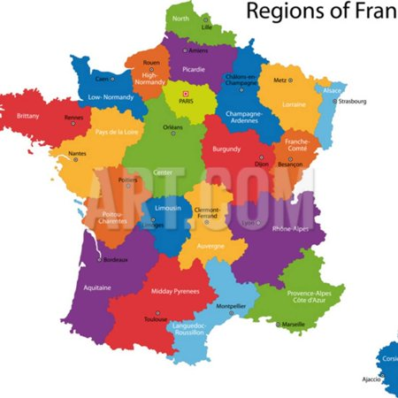 Map Of France Regions And Cities.Colorful France Map With Regions And Main Cities Print Wall Art By