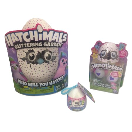 Hatchimals Variety Pack Of 1 Glittering Garden Penguala Hatching Egg  1 Hatchimals Colleggtibles 2 Pack   Nest   1 Hatchimals Mystery Mini Backpack Clip