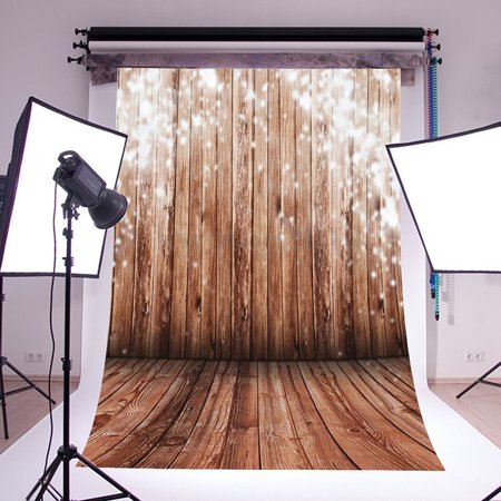 5x7ft Studio Photo Video Photography Backdrops Sparkling on Rustic Wood Planks Printed Vinyl Fabric Party Decorations Background Screen - Backdrop Fabric