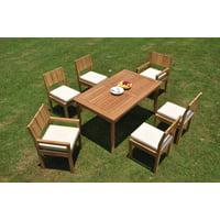 "Grade-A Teak Dining Set: 6 Seater 7 Pc: 60"" Rectangle Table And 6 Veranda Chairs (2 Arm & 4 Armless Chairs) Outdoor Patio WholesaleTeak #WMVRj"