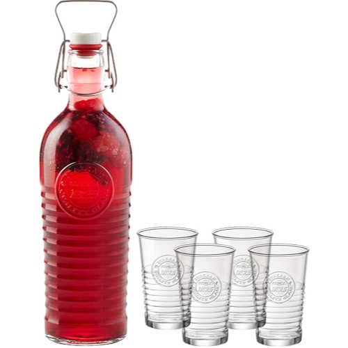 Bormioli Rocco 5pc Officina 1825 Collection 40.5oz. Swing Top Lid Glass Bottle and (4)... by Bormioli Rocco