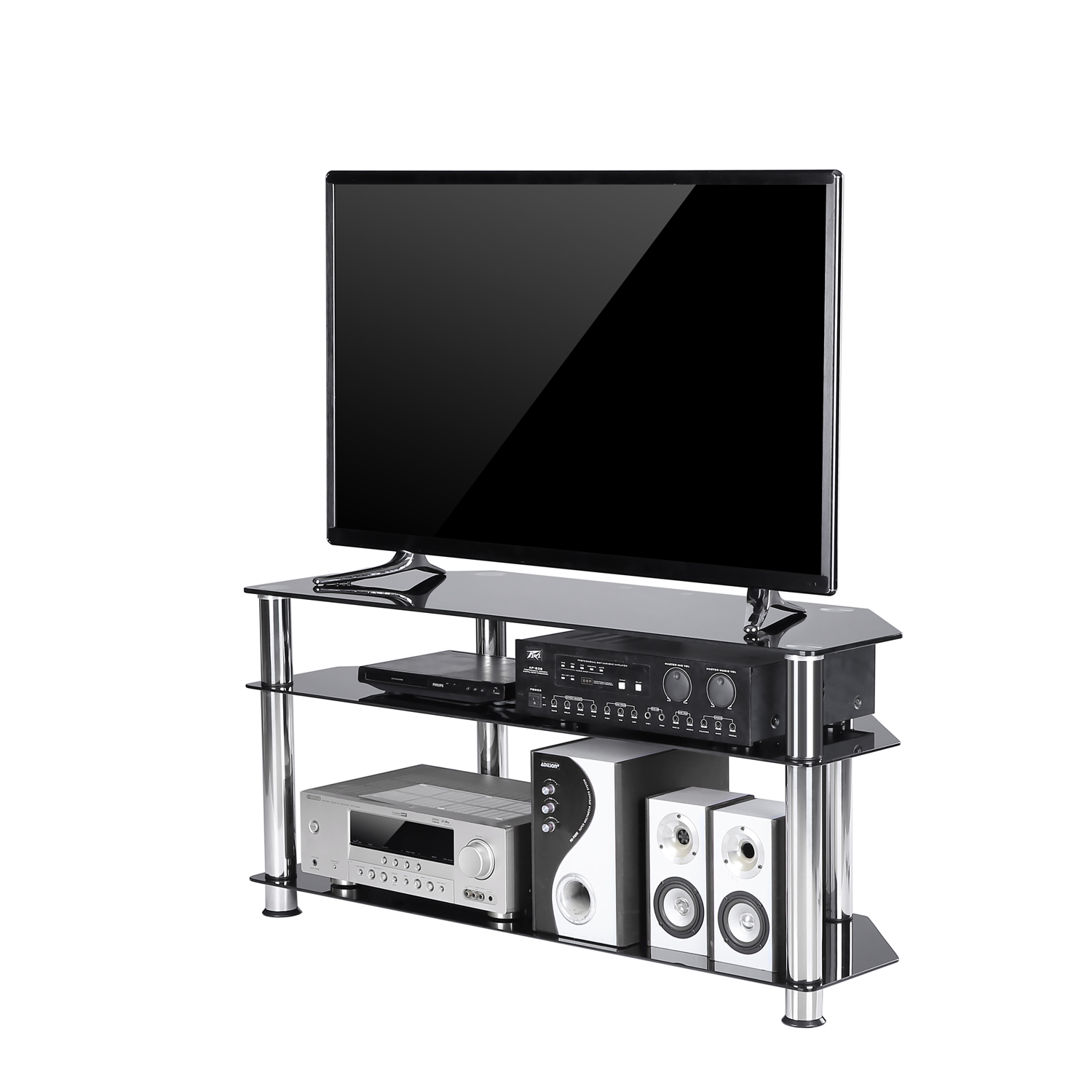 TAVR Furniture Black Tempered Glass Corner TV Stand Cable Management Suit for up to 50''inch LED, LED OLED TVs,Chrome Legs TS2002