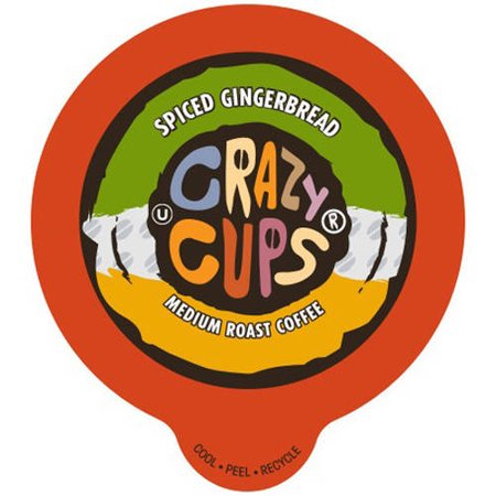 Crazy Cups Spiced Gingerbread Flavored Coffee Single Serve Cups, 22 count