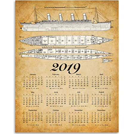2019 Calendar - Titanic Ship Blueprints - 11x14 Unframed Calendar Art Print - Great Calendar for People Who Are Fascinated by The Titanic