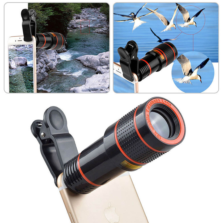 12x Optical Zoom Camera Lens HD Telescope Telephoto Clip-on for Universal Mobile Phone