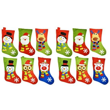 "18"" Felt Christmas Stockings with Hanging Tag - Set of 12 (Designs Include: Santa, Snowman, Reindeer, Polar Bear, & Owl)"