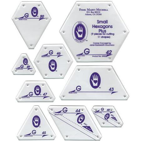 Hexagon Quilt Patterns - Marti Michell Perfect Patchwork Template, Set G, Small Hexagon Set, 9/pkg