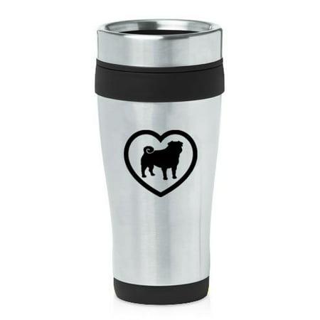Black 16oz Insulated Stainless Steel Travel Mug Z1562 Pug Heart ()