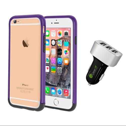 iPhone 6 Case Bundle (Case + Charger), roocase iPhone 6 4.7 Strio Bumper Open Back with Corner Edge Protection Case Cover with Black 5.1A Car Charger for Apple iPhone 6 4.7-inch, Purple