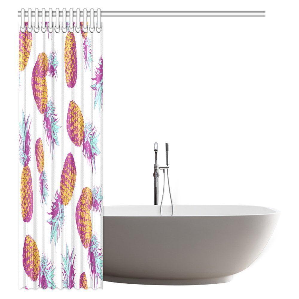 POP Pineapple Decor Shower Curtain, Tropical Vintage Style
