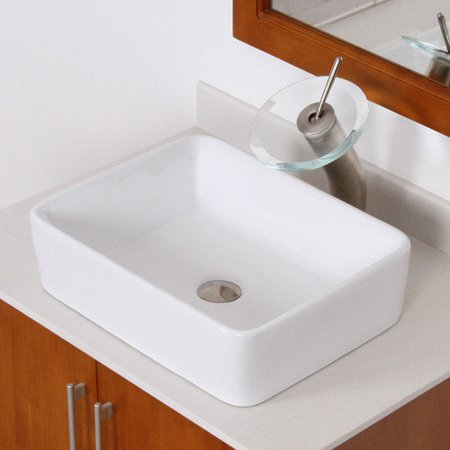 Elite Bathroom Sinks : Elite Ceramic Rectangular Vessel Bathroom Sink - Walmart.com