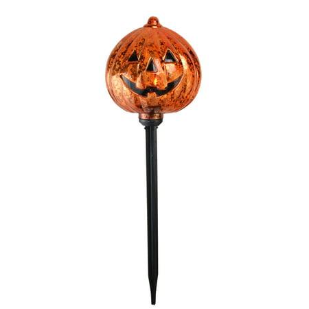 Set of 3 Lighted Mercury Finish Flickering Pumpkin Halloween Pathway Markers - Finnish Halloween