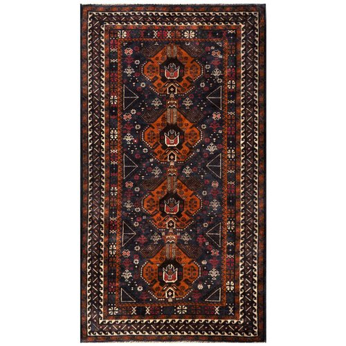 ZallZo Hand Knotted Wool Brown Area Rug