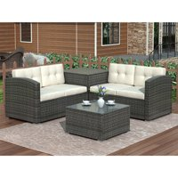 4-Piece Rattan Patio Furniture Sets Clearance, Wicker Bistro Patio Set with Ottoman, Glass Coffee Table, Outdoor Cushioned PE Rattan Wicker Sectional Sofa Set, Dining Table Sets for Backyard, Q10342