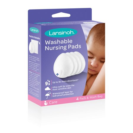 Lansinoh Reusable Washable Nursing Pads with Superior Absorbency & Comfort, Pack of 4 Pads & Wash Bag ()