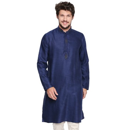 Shatranj Men's Indian Classic Collar Long Kurta Tunic with Embroidered