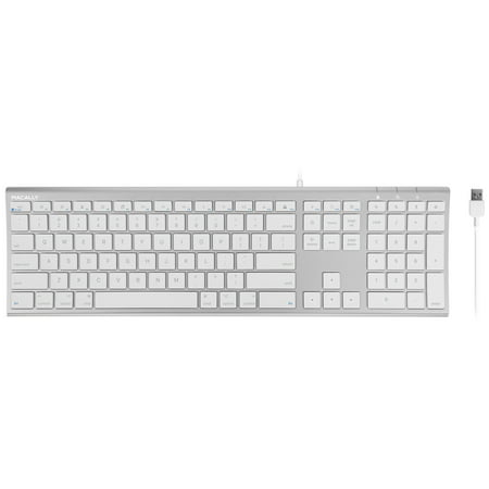 Macally Ultra-Slim USB Wired Computer Keyboard for Apple MacBook Pro/Air,  iMac, Mac Mini, Mac Pro, Windows PC Laptops/Desktops and Notebooks | Plug