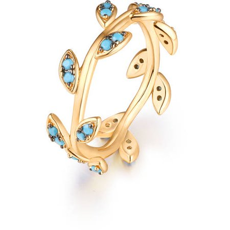 18kt Gold Plated Brass & Genuine Turquoise Leaf Design Ring