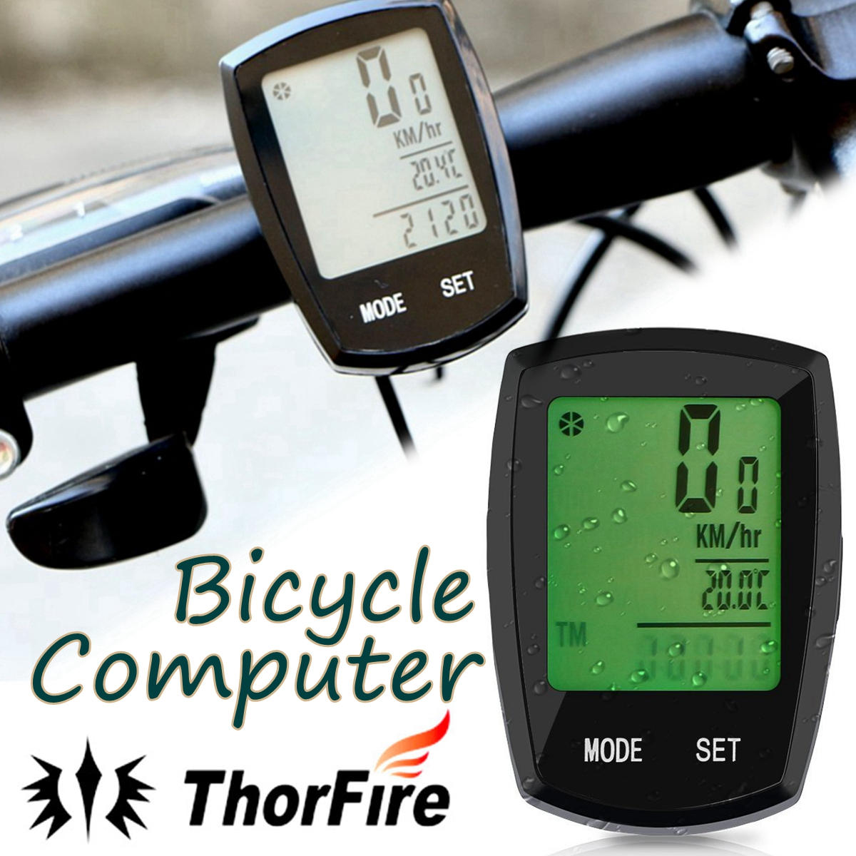 Wireless Day-Night 24 Functions Waterproof Cycling Computer,ThorFire Bike Computer Bicycle Speedometer Bike Odometer with Larger LCD Screen Display
