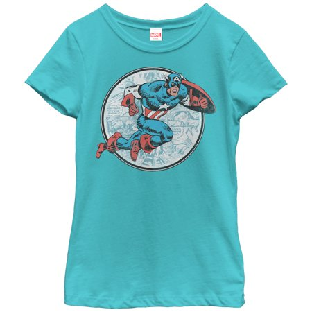 Marvel Girls' Captain America Battle T-Shirt - Captain America Girls