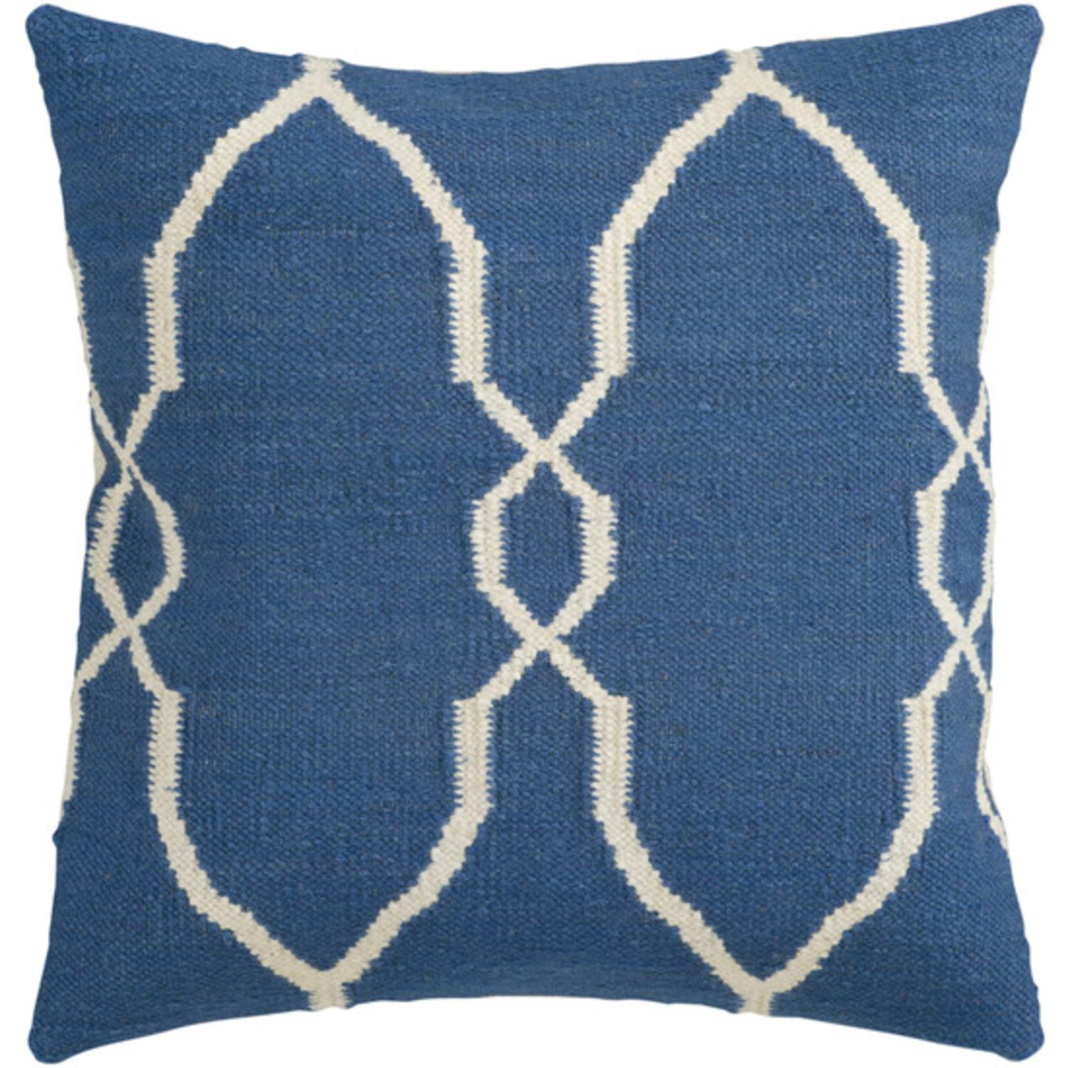"18"" Mediterranean Blue and Antique White Moroccan Decorative Throw Pillow"