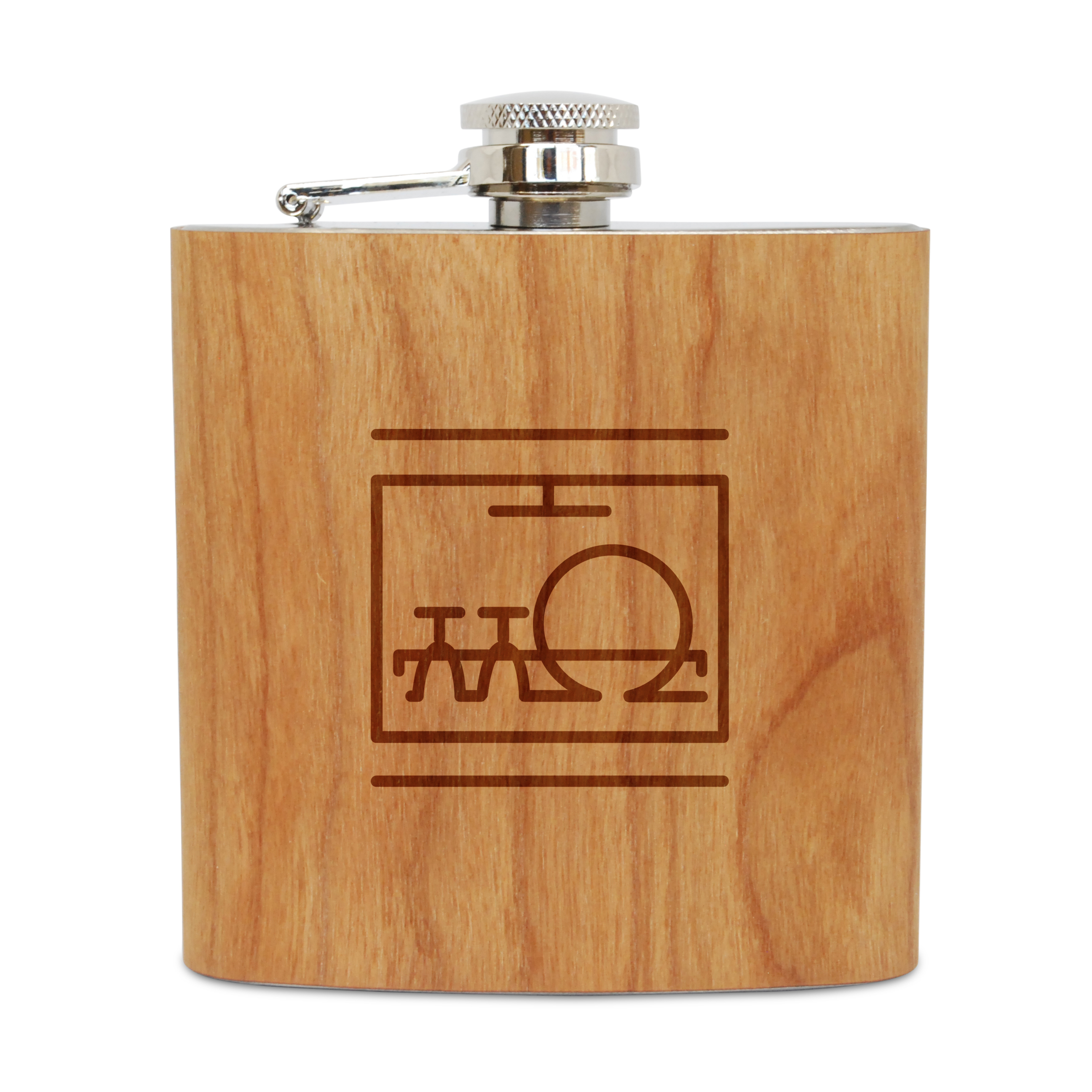Dishwasher 6 Oz Wooden Flask (Cherry), Stainless Steel Body, Handmade In Usa