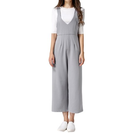 Wide Waist Crop Pant - Women's High Waist Wide Leg Cropped Suspender Pants Gray (Size M / 8)
