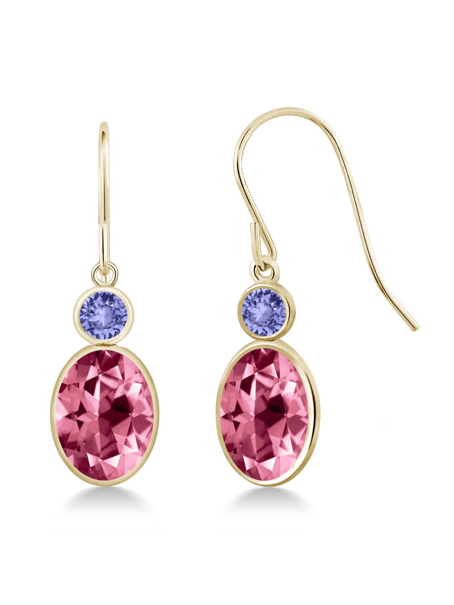 14K Yellow Gold Earrings Tanzanite Set with Oval Pink Topaz from Swarovski by