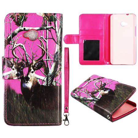 Camo Pink Deer Pintree Wallet Folio Case for HTC One M7 Fashion Flip PU Leather Cover Card Slots &