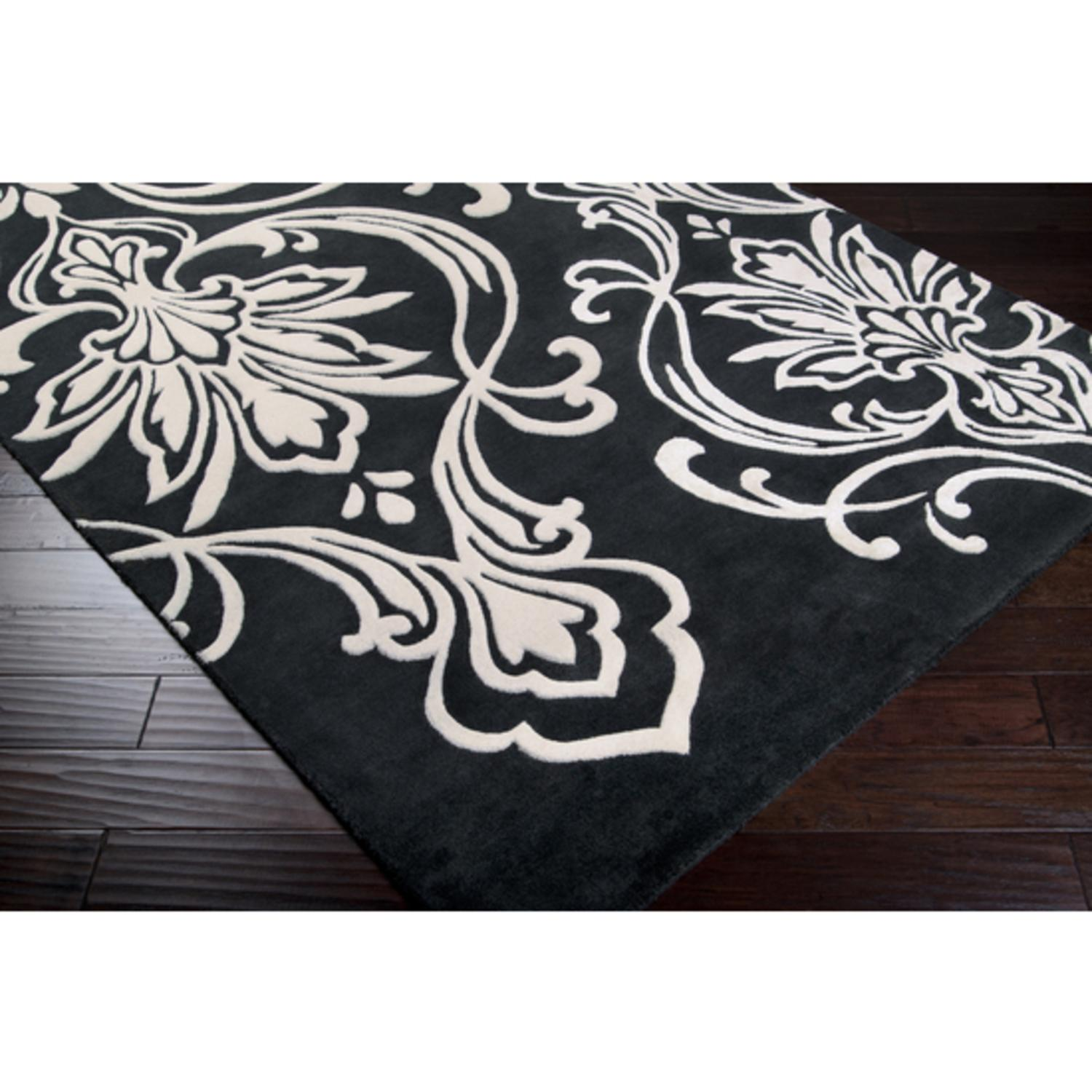 5' x 8' B��lier Bloom Black Olive and White Wool Area Throw Rug