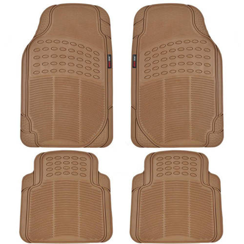 MotorTrend 4-Piece Heavy-Duty Rubber Floor Mats, Odorless, All Weather Protection, Semi Custom Fit