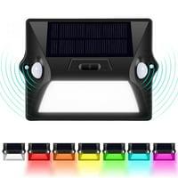 HERCHR 12 LED Solar Powered Light Dual Head PIR Motion Sensor Outdoor Security Wall Lamp, 7 Colors Sensor Wall Lamp Solar Security Light
