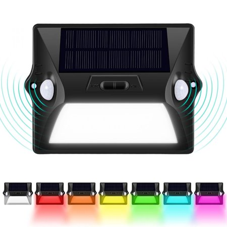 HERCHR 12 LED Solar Powered Light Dual Head PIR Motion Sensor Outdoor Security Wall Lamp, 7 Colors Sensor Wall Lamp Solar Security Light (Color Motion Detector)