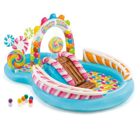 Intex Kids Inflatable Candy Zone Swim Play Center Kids Splash Pool w/ Waterslide - Kids Blow Up Pool