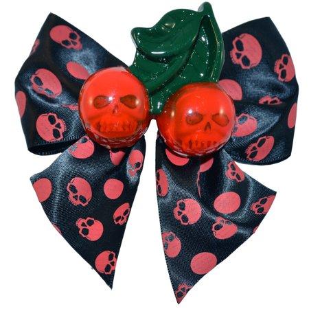 Cherry Skull Red Hairbow Hair Clip Halloween Horror Accessory Kreepsville - Halloween Horror Nights Clips