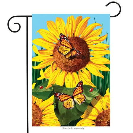"""sunflower field summer garden flag butterflies floral 12.5"""" x 18"""" briarwood lane"""