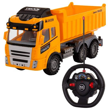 Remote Control Heavy Duty Construction Dump Truck Forward / Backward Left/Right  with Lights, Lift Up The Bucket – 27 MHZ - Great Electronic Car Toys Gift for Your Kids