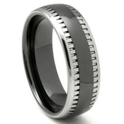 Titanium Kay Black Tungsten Carbide Two Tone Milgrain Dome Comfort Fit Mens Wedding Band Ring Sz 10.0