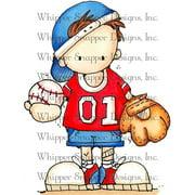 """Whipper Snapper Cling Stamp 4""""X6""""-Baseball Brandon"""