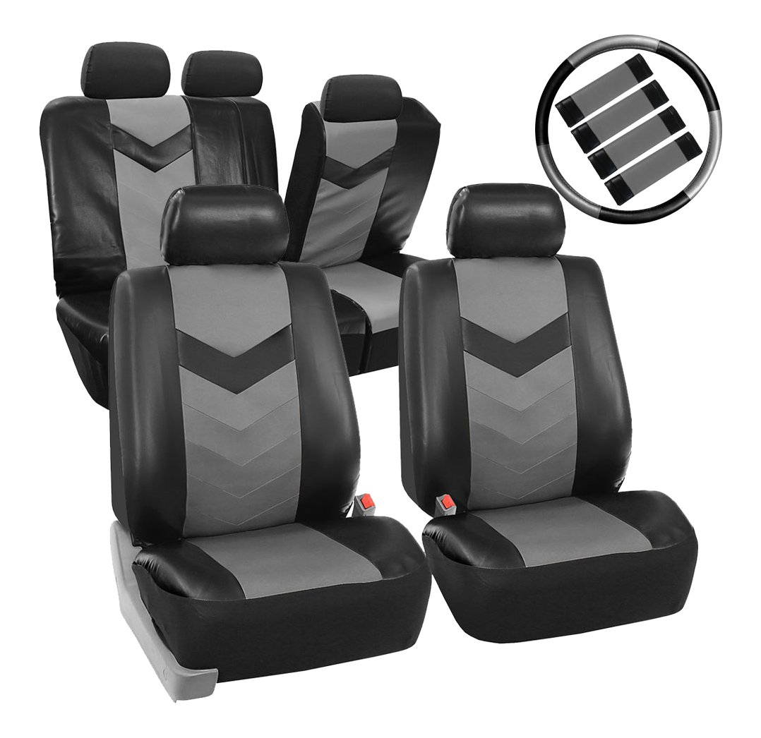 Premium Synthetic Leather with Accessories Combo Set Airbag Compatible Gray//Black FH Group PU021GRAYBLACK-COMBO Seat Cover