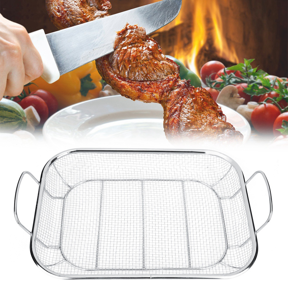 Stainless Steel BBQ Grill Basket Barbecue Mesh Grilling Basket Large Capacity