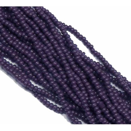 DK Purple Opaque Czech 8/0 Glass Seed, Loose Beads, 12 Strand Hank Preciosa - Bead Strands