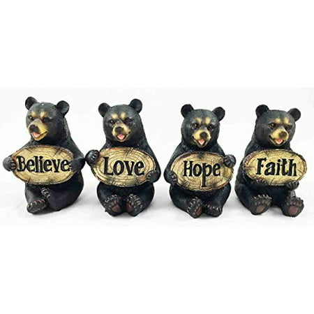- Set of Four Bears Whimsical Cute Black Bear Holding Love Believe Faith and Hope Sign Plaque Small Figurines Western Decor Rustic Nature Lovers Gift