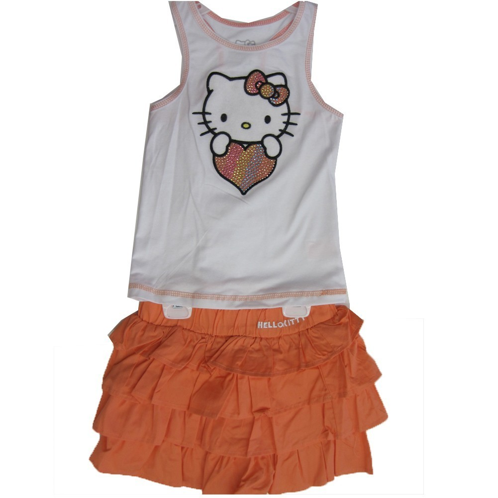 Hello Kitty Little Girls White Orange Studded Heart Tiered 2 Pc Skirt Outfit 4-6X