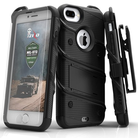 Iphone 3g Holster - Zizo Bolt Series Case with Screen Protector, Holster, and Kickstand for iPhone 8 Plus and iPhone 7 Plus, Black