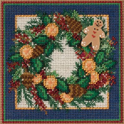 "Spiced Wreath Winter Buttons & Beads Counted Cross Stitch Ki-5.25""X5.25"" 14 Count"
