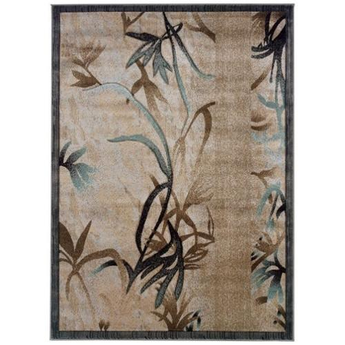 "Linon Milan 1'11"" x 2'10"" Rug in Beige and Aqua"