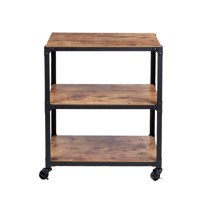 Mind Reader ' Charm' 3 Tier Wood Metal All Purpose Kitchen Cart, Black with Brown