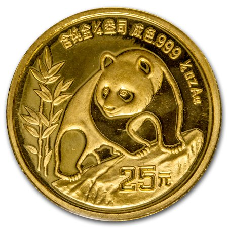 1990 China 1/4 oz Gold Panda Large Date BU