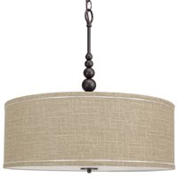 """Kira Home Adelade 22"""" Drum Pendant Chandelier, Sand Fabric Shade, Glass Diffuser, Adjustable Height, Oil-Rubbed Bronze"""